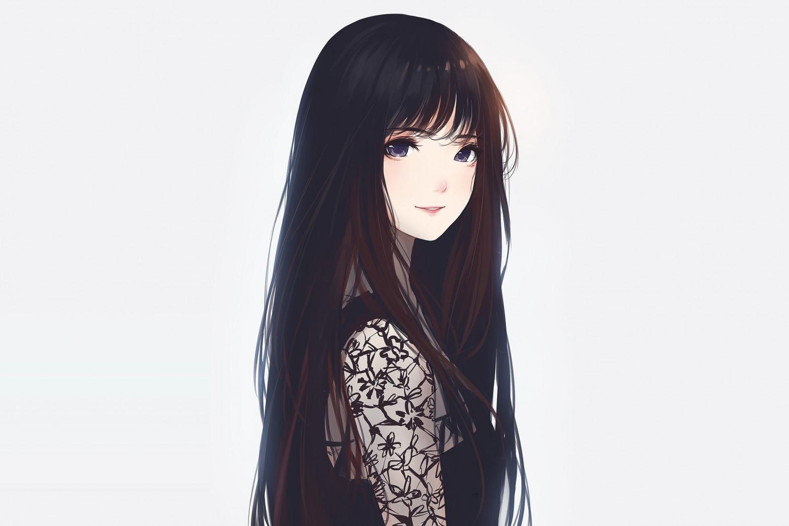 Картинки аниме женщин с длинными волосами
