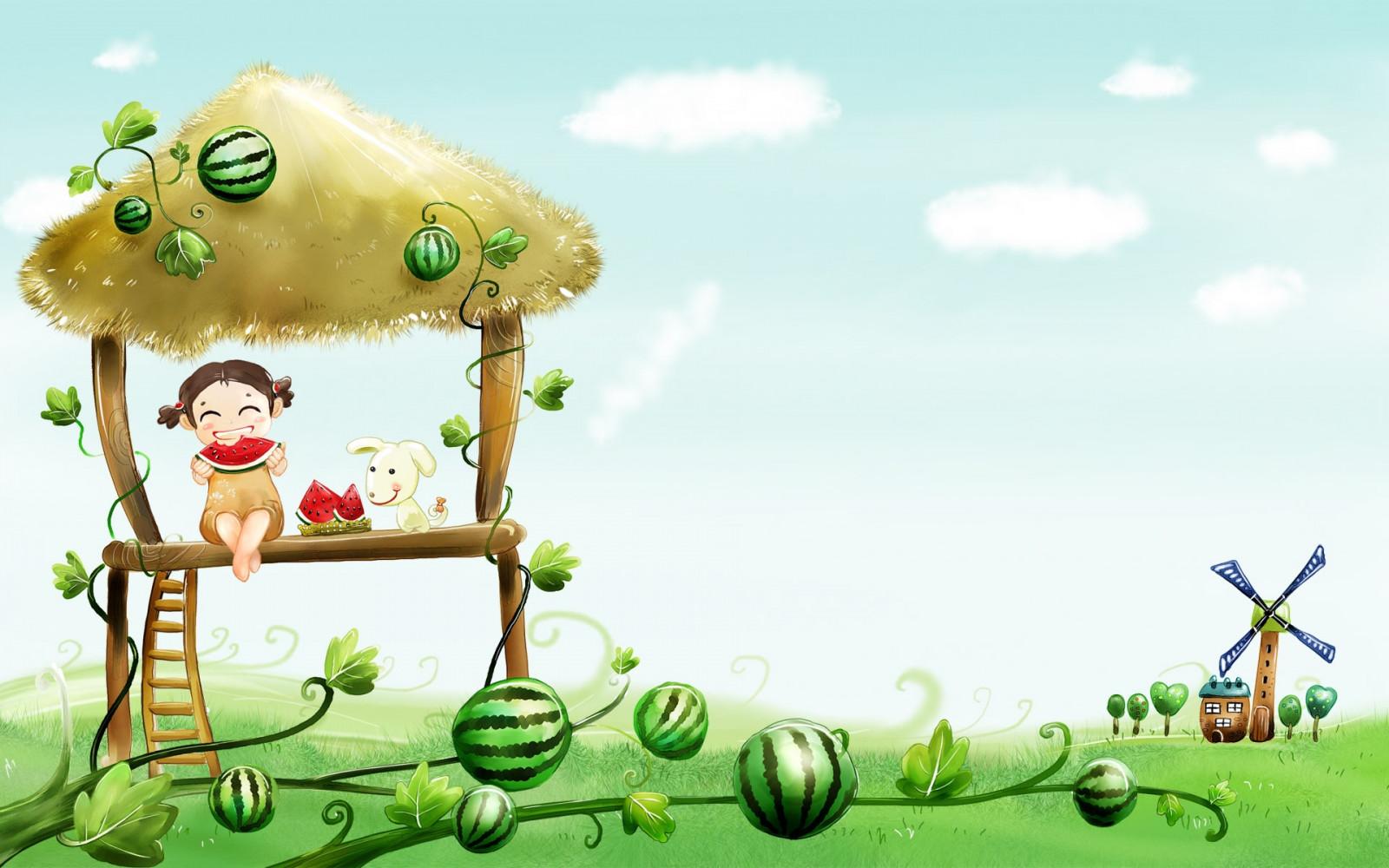 วอลเปเปอร์ : ภาพประกอบ, อาหาร, สวน, สีเขียว, การ์ตูน, หมา