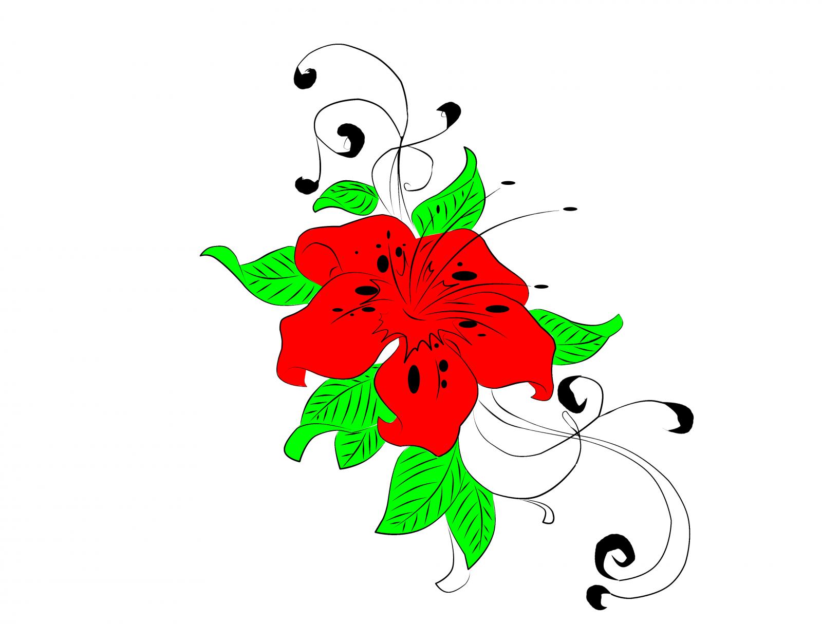 Wallpaper Daun Daun Putih Ilustrasi Bunga Bunga Alam Merah