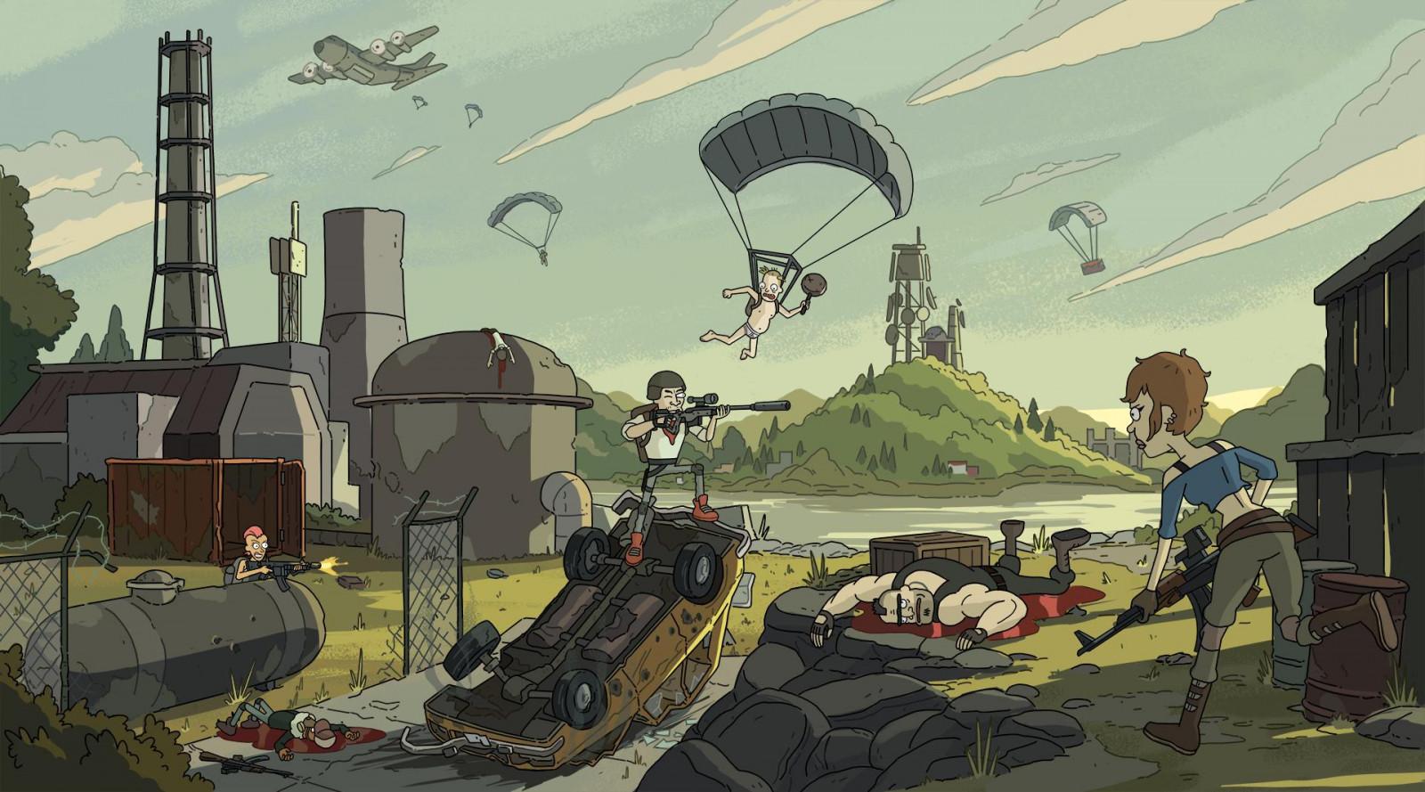 Wallpaper : Video Games, Digital Art, PUBG, Cartoon, Gun