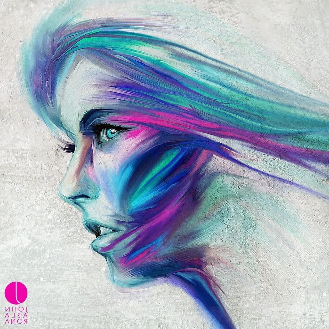 wallpaper face drawing illustration portrait fantasy art blue