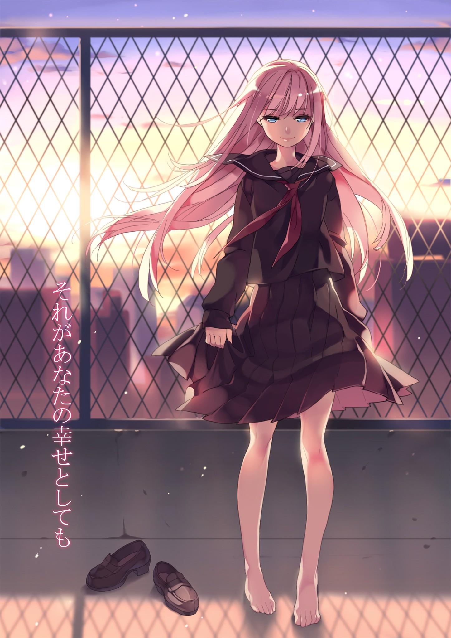 Картинки аниме девушек с розовыми волосами в школьной форме