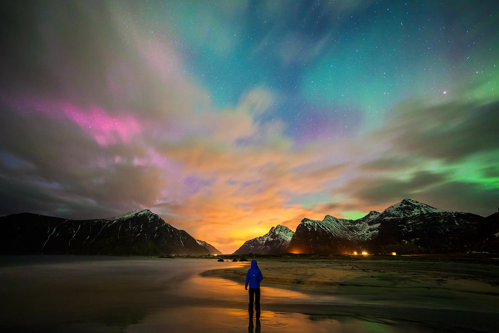 Nordlicht Beleuchtung | Hintergrundbilder Langzeitbelichtung Berge Strand Farben