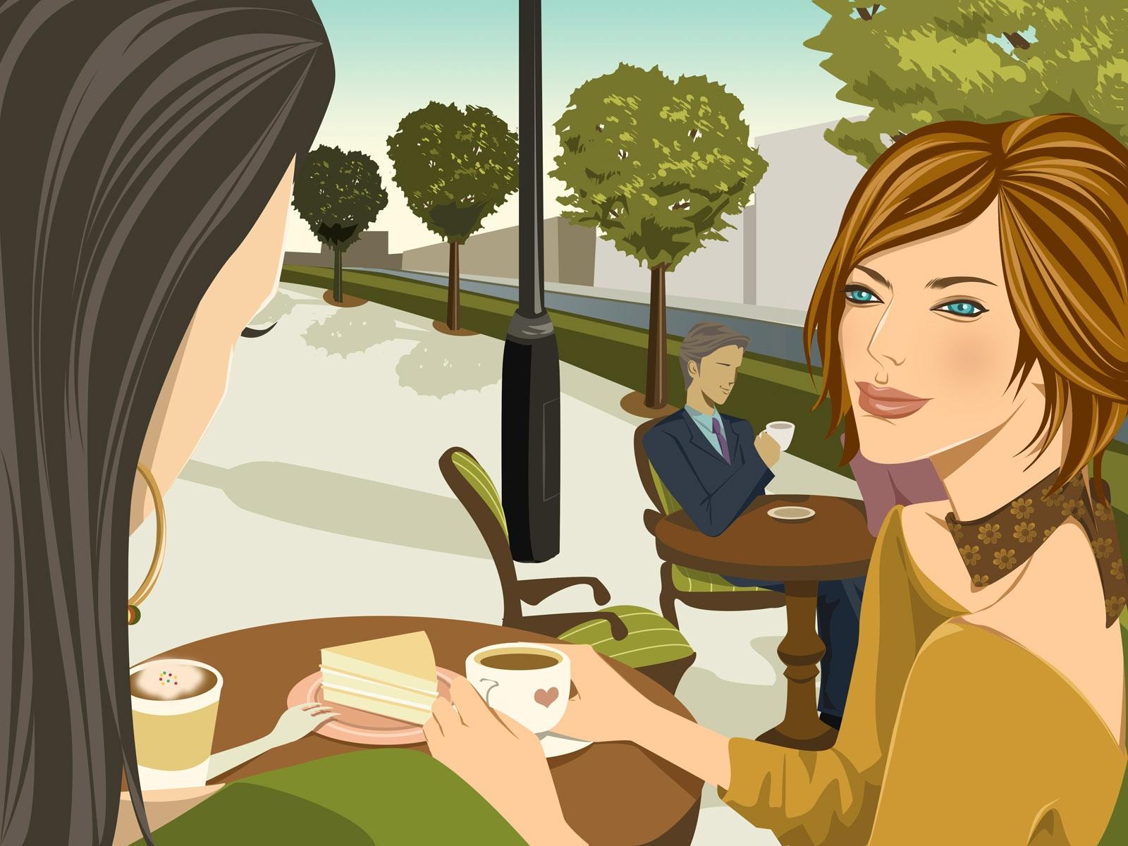 Открытка девушки за столом, рисунки подруг