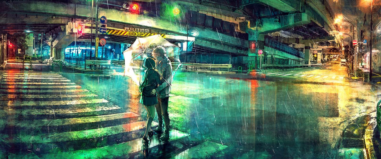 Wallpaper : colorful, overpass, umbrella, rain, night ...