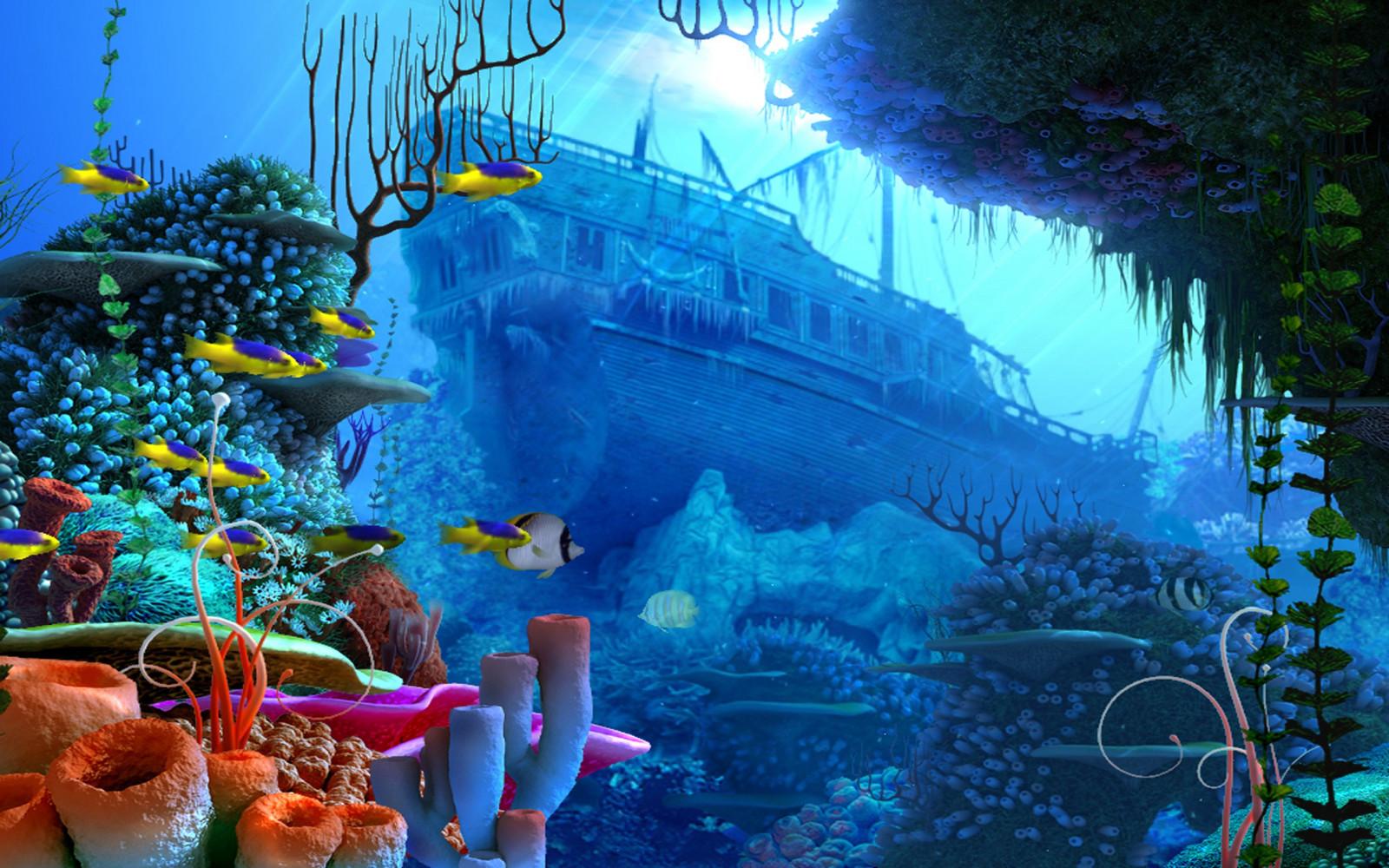 Wallpaper fantasy art fish underwater coral reef ocean