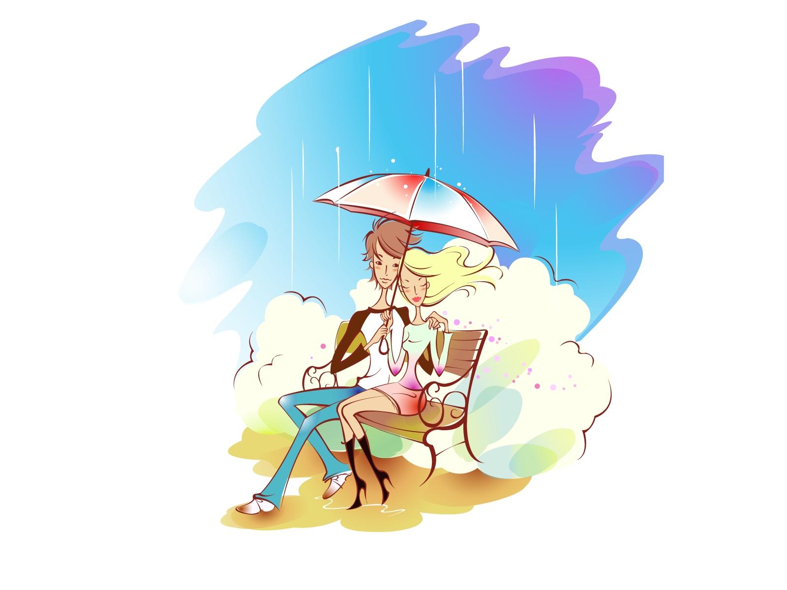 Wallpaper Drawing Illustration Love Rain Umbrella Cartoon