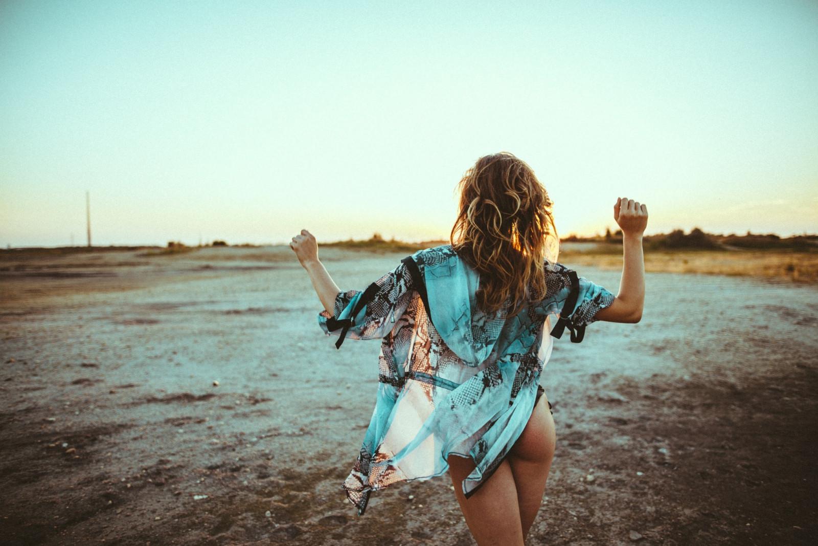 Wallpaper girl, beach, long hair, legs, sea, photo