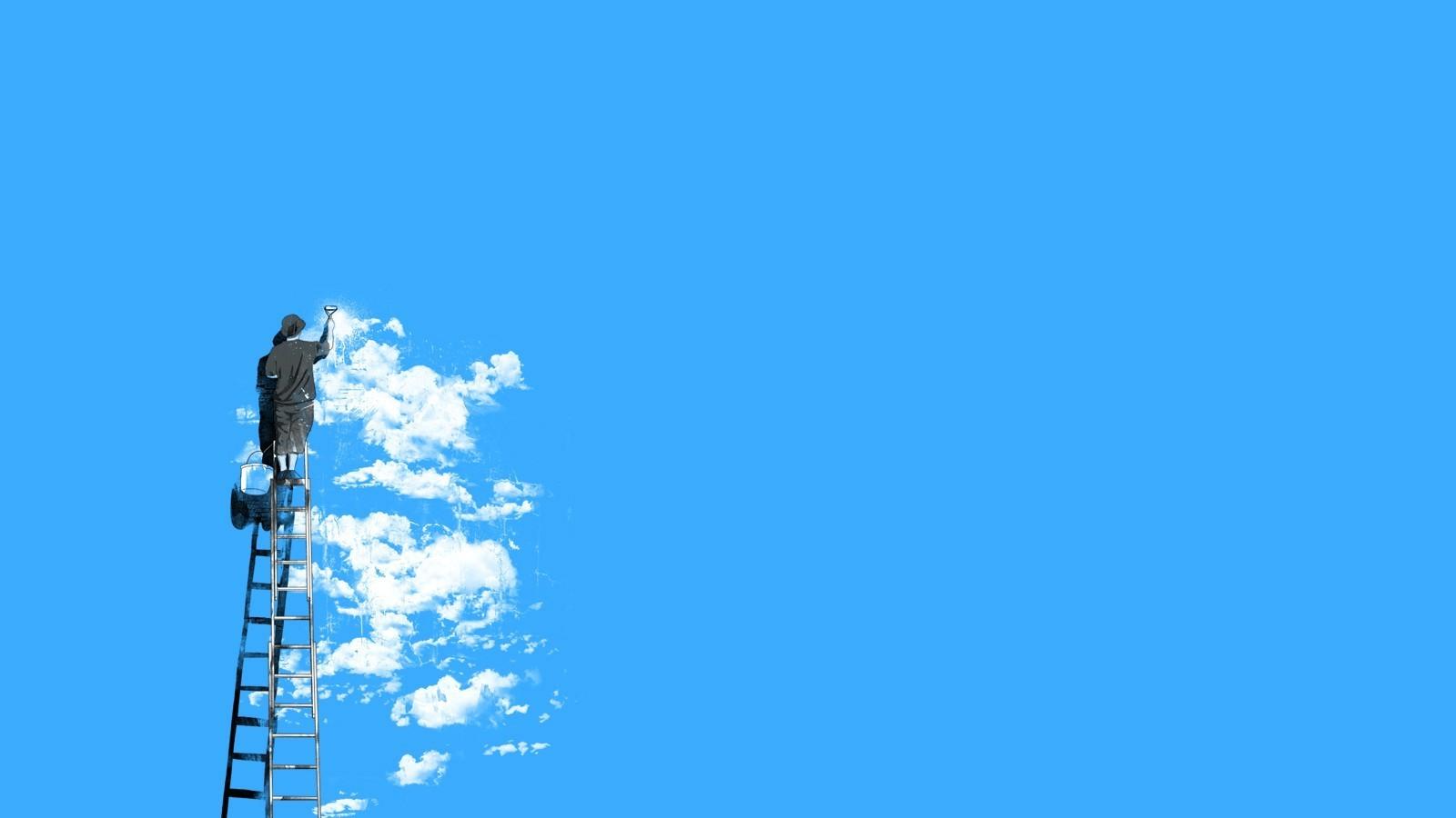 wallpaper : men, street light, minimalism, sky, blue background