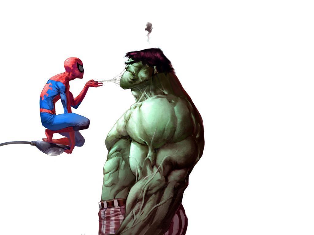 Tapety Ilustrace Kreslena Pohadka Spiderman Vs Hulk Pavouk