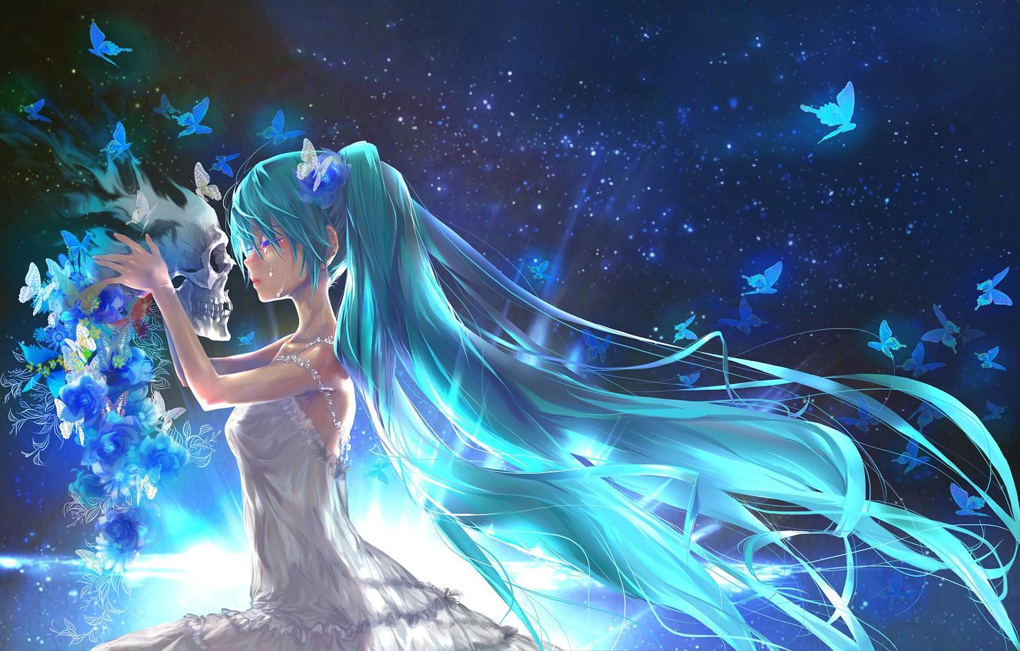 Fond d'écran : illustration, Anime, Filles anime, Vocaloïde, Hatsune Miku, crâne, mythologie ...