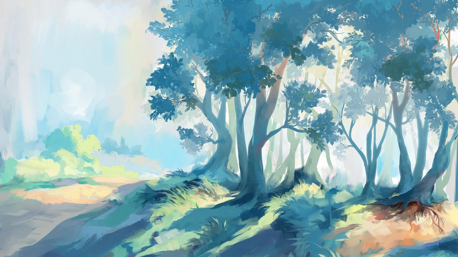 Fond d'écran : lumière du soleil, La peinture, forêt, illustration, Art fantastique, ouvrages d ...