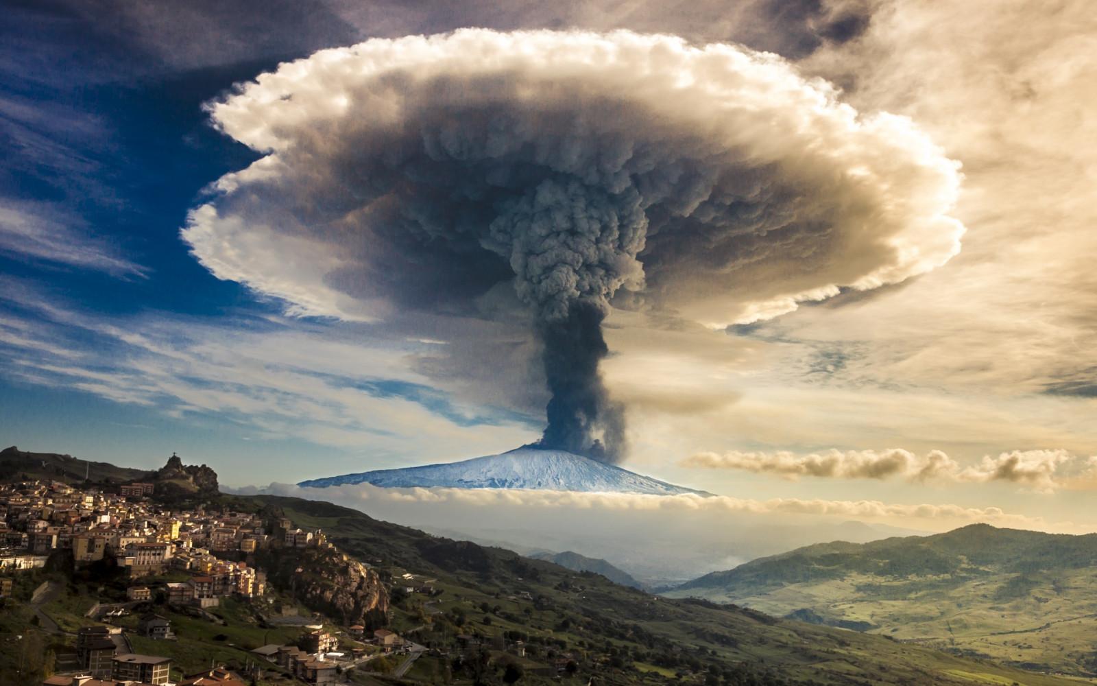 Fond d'écran : volcan, Éruptions, la nature, paysage, Montagnes, Nuages de champignons, des ...