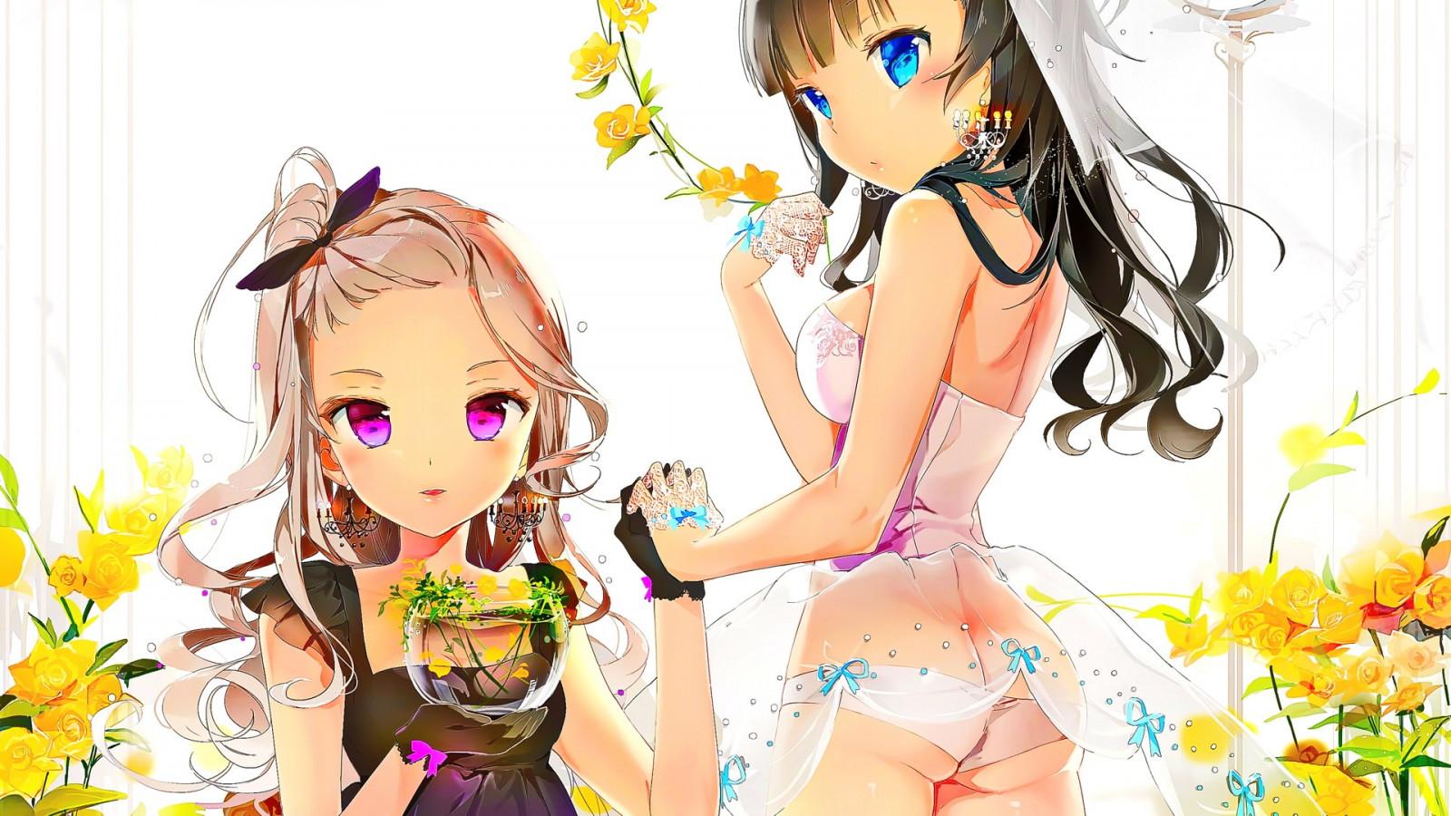 Wallpaper : illustration, blonde, anime girls, open mouth