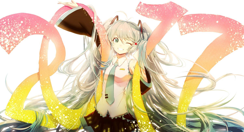 Wallpaper : ilustrasi, gadis anime, latar belakang putih, Vocaloid