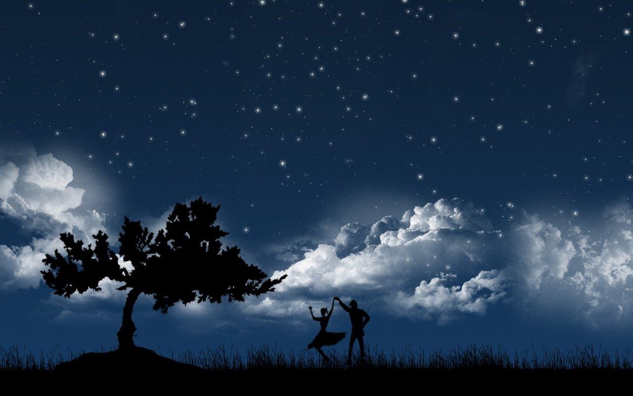 デスクトップ壁紙 1280x800 Px 雲 カップル ダンサー ダンシング デジタルアート 男性 ミニマリズム 自然 夜 シルエット 星 木 女性 1280x800 Coolwallpapers デスクトップ壁紙 Wallhere