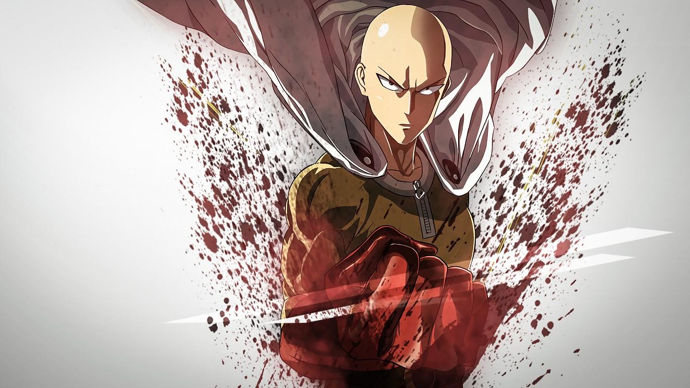Saitama Wallpaper - Wallpaper : illustration, anime, red, white background ...