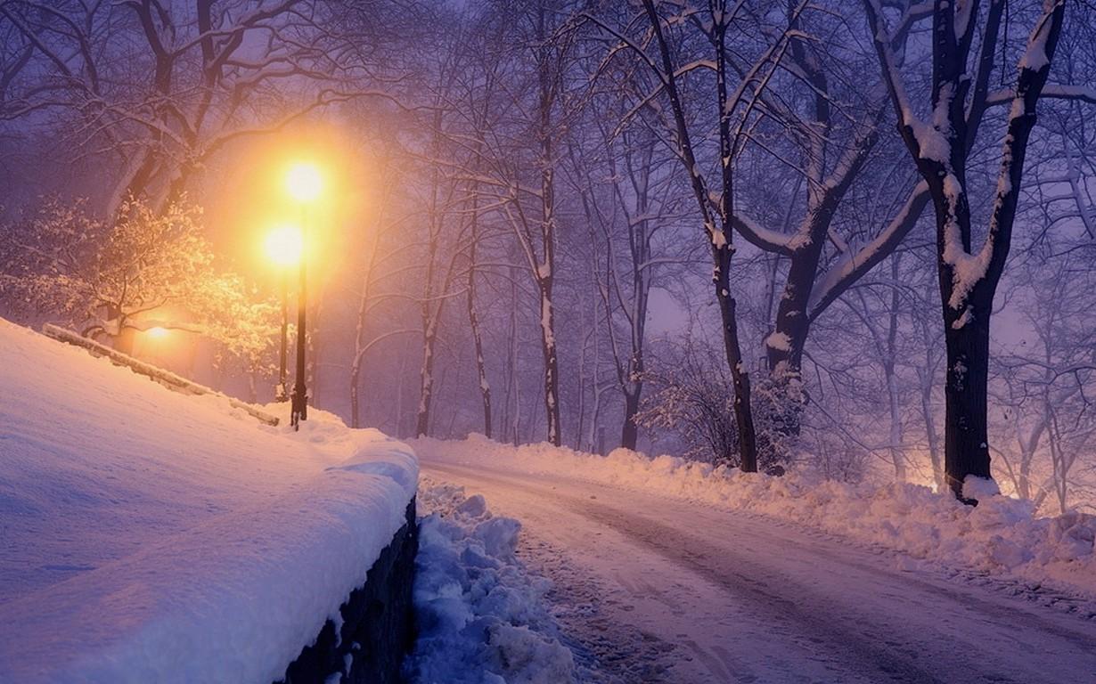 Картинки вечер зима снег