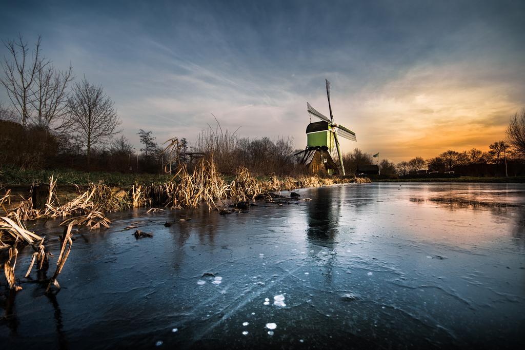 Wallpaper Windmill Ice Dutch Holland Gorinchem Wide Angle