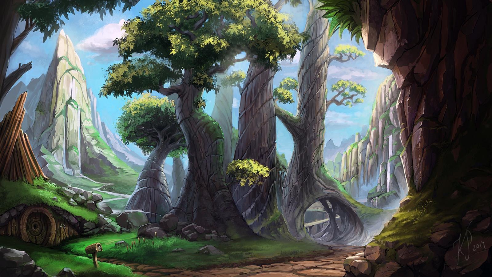 Wallpaper Trees Landscape Drawing Painting Forest Digital Art Fantasy Art Nature Deviantart Jungle Swamp Rainforest Tree Screenshot Habitat Natural Environment Ecosystem 1920x1080 Mrguada 232378 Hd Wallpapers Wallhere