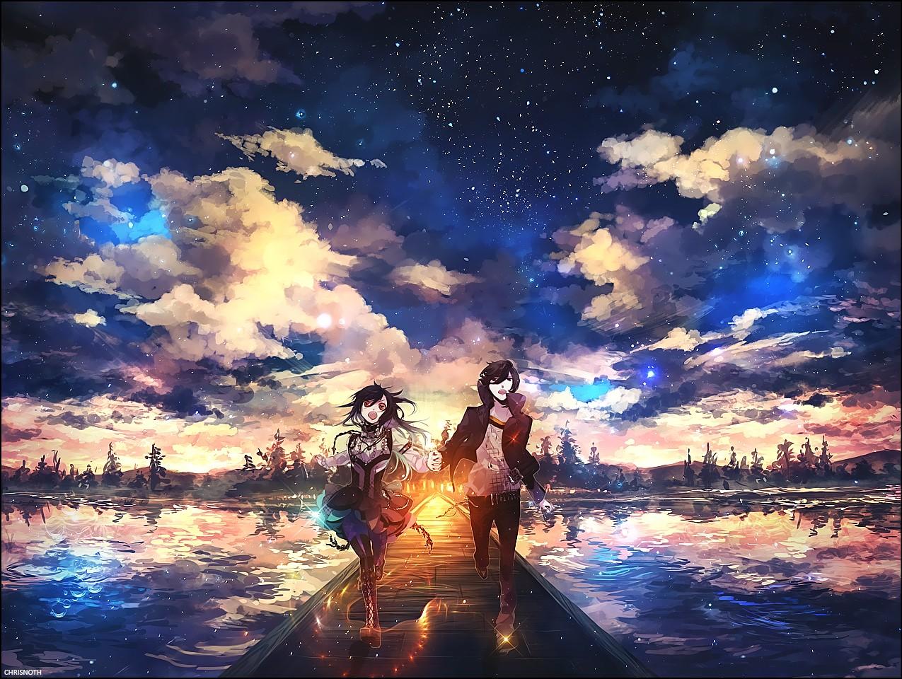 Sunlight Sky Manga Evening Computer Wallpaper