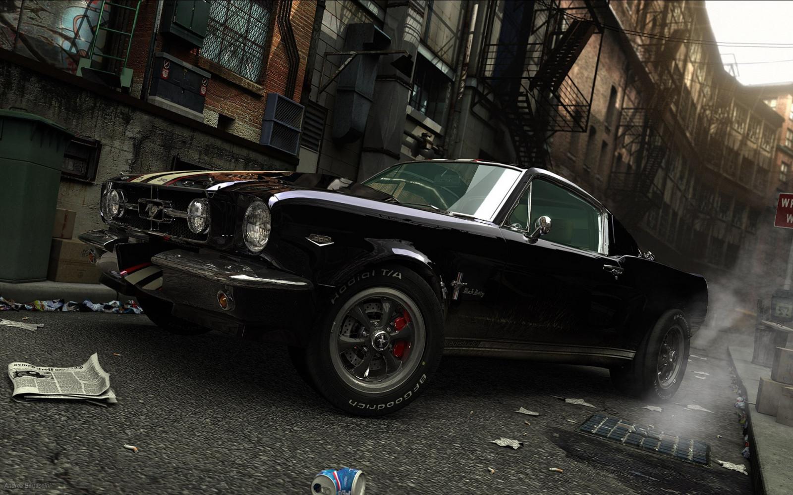 Wallpaper : street, Ford Mustang, black cars, sports car ...