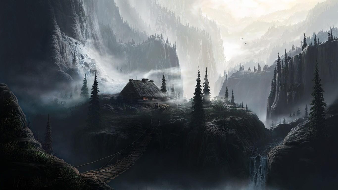 Popular Wallpaper Mountain Fog - landscape_nature_artwork_house_mountains_mist_fantasy_art-256125  Gallery_225398.jpg!d