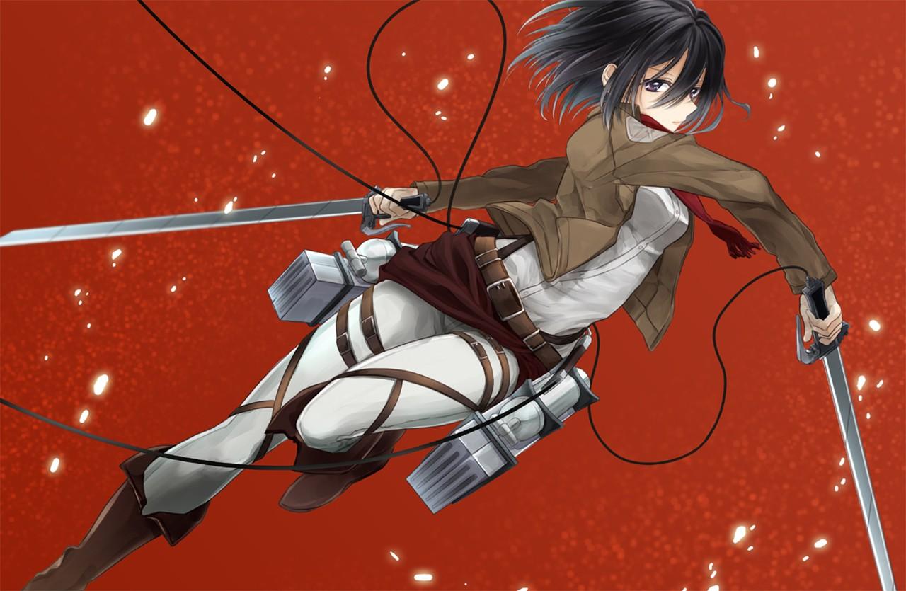 デスクトップ壁紙 図 アニメの女の子 赤 進撃の巨人 三笠