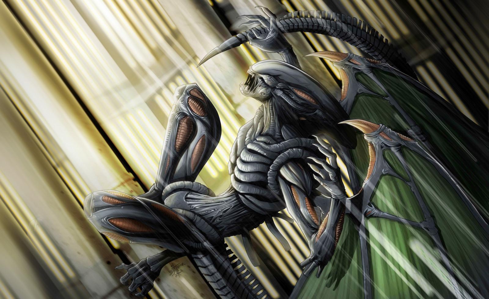 Fond d'écran : ouvrages d'art, extraterrestres, Xénomorph, créature 2888x1764 - WallpaperManiac ...