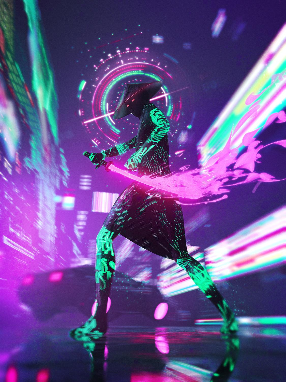 Wallpaper : vertical, neon, cyberpunk, futuristic, samurai ...