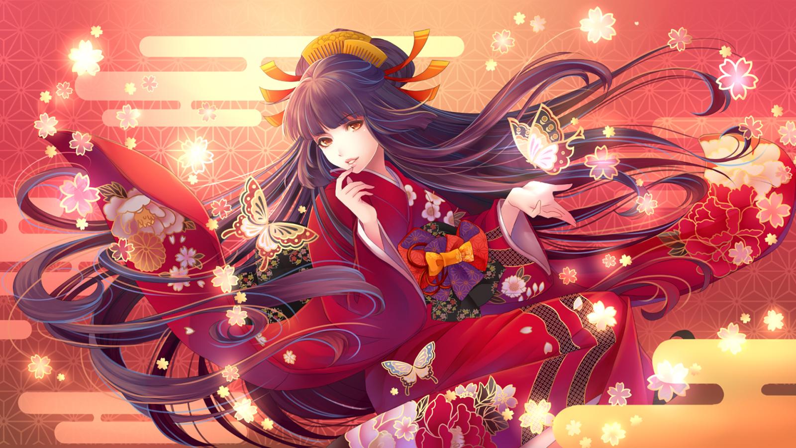 Wallpaper : kimono, long hair, anime girls 1920x1080 ...