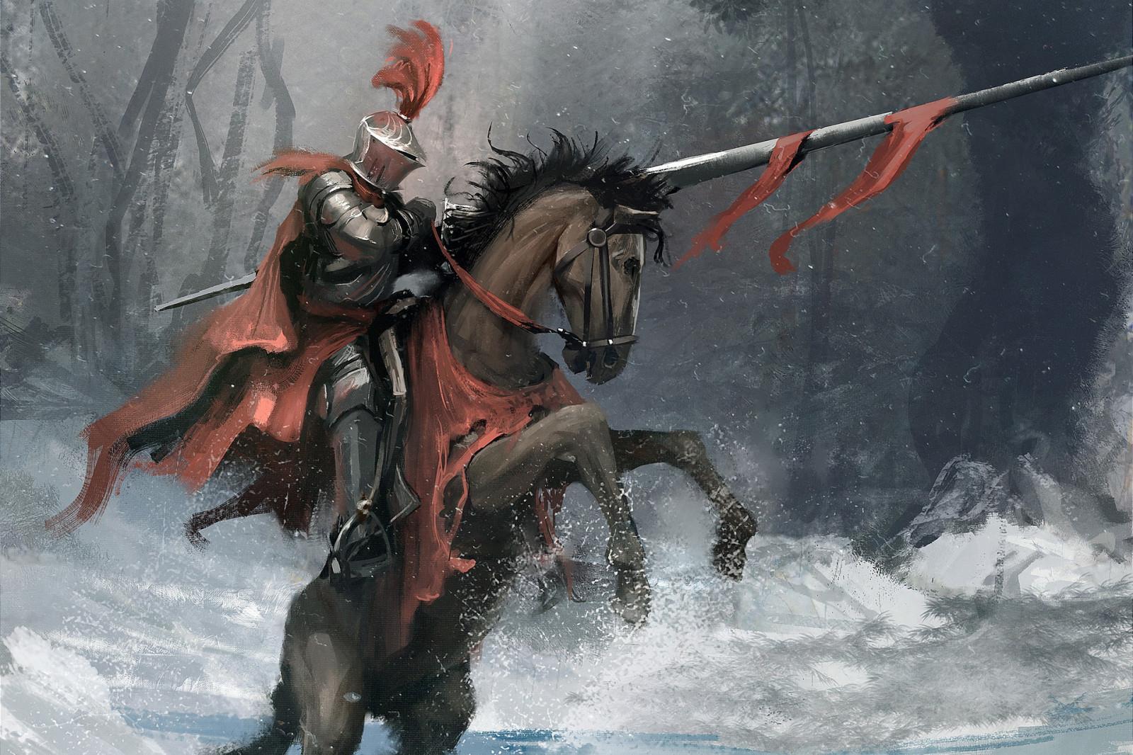 horse knight Fantasy Men winter snow lance fantasy art