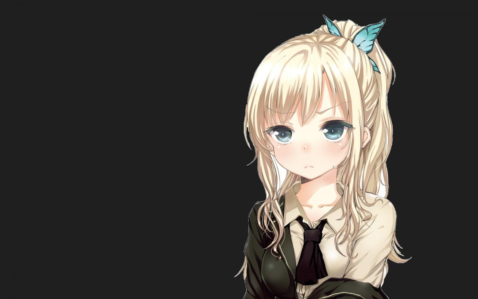 fondos de pantalla anime rubia azul ojos mariposa