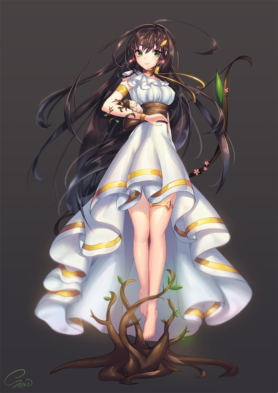 Wallpaper Illustration Long Hair Anime Girls Brunette Legs