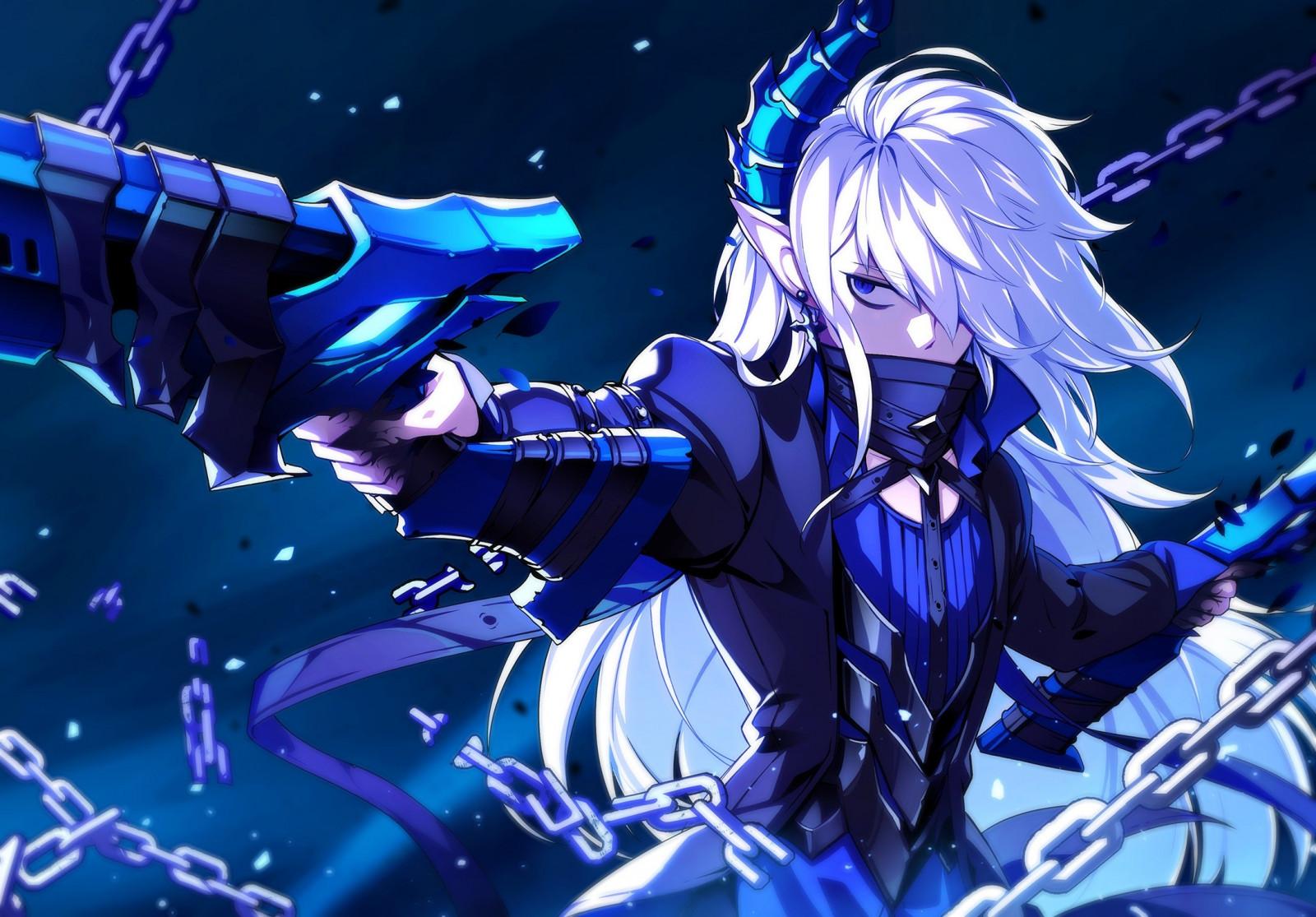 Wallpaper Gun Long Hair White Hair Anime Girls Blue Eyes