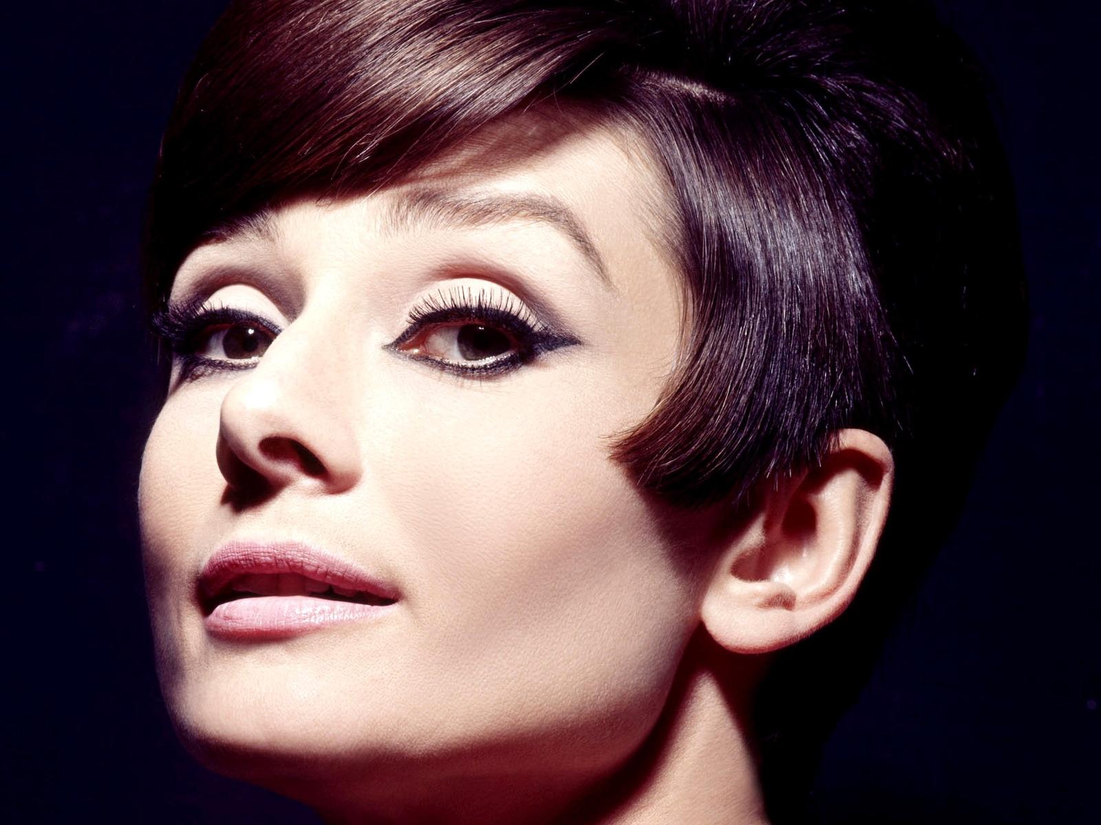Wallpaper Face Long Hair Makeup Black Hair Bangs Nose Audrey