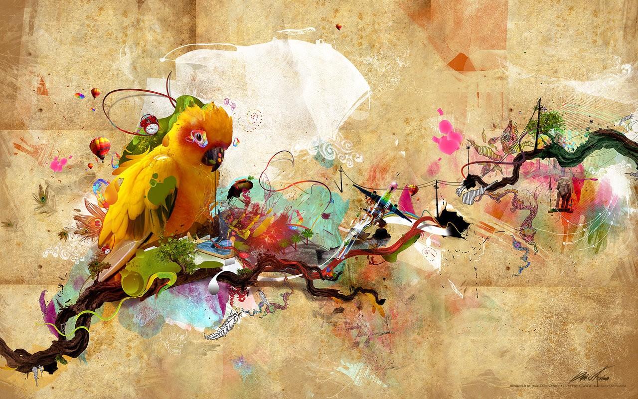 Wallpaper : painting, illustration, digital art, parrot, ART, color ...