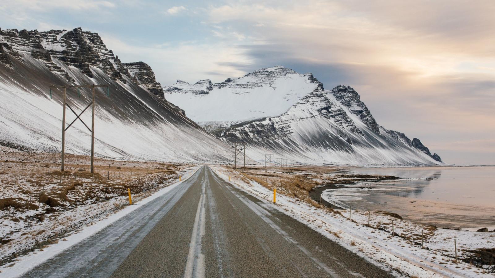 fond d 39 cran paysage montagnes lac la nature neige hiver route des nuages la glace. Black Bedroom Furniture Sets. Home Design Ideas