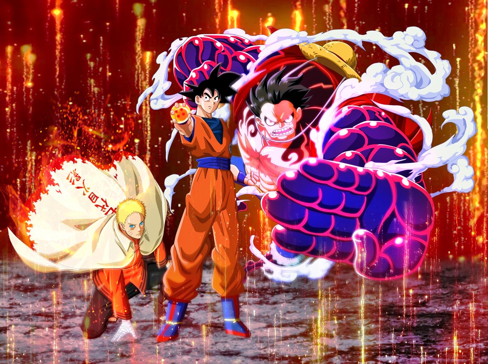Fond d'écran : Crossover, Son Goku, Monkey D Luffy, Uzumaki Naruto 1920x1433 - danielgreen ...