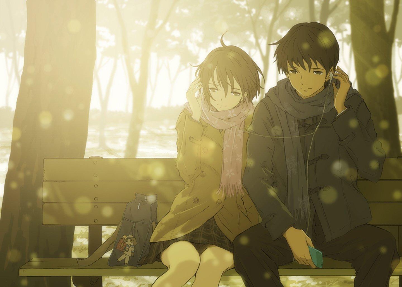 1440x1028 px anime couple headphone love music romantic sunshine 1765811