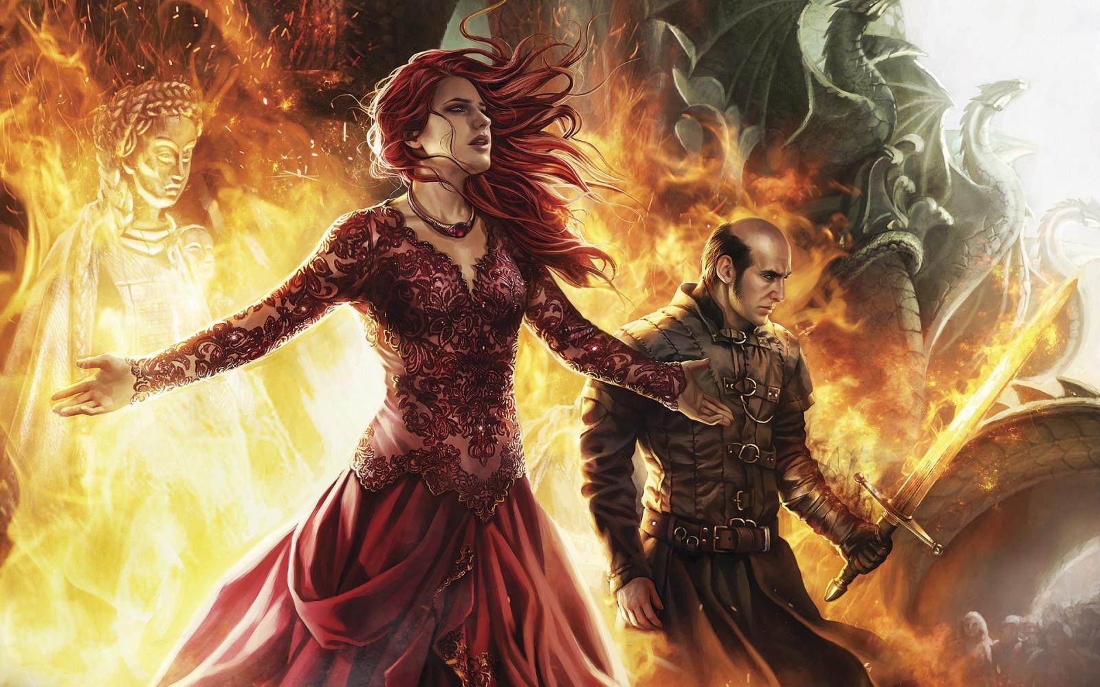 Wallpaper : digital art, women, redhead, fantasy art ... Fire And Ice Dragon Wallpaper