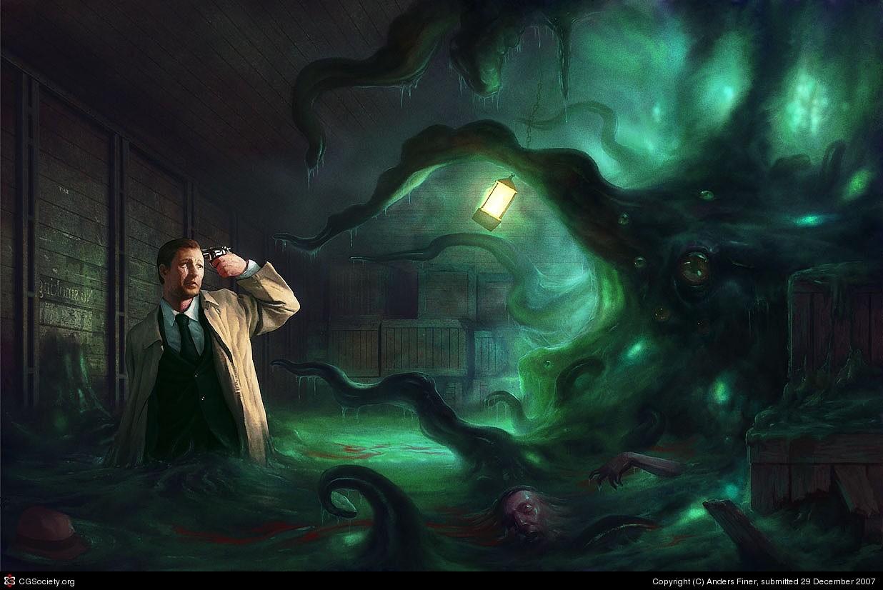 horror artwork H P Lovecraft Cthulhu midnight Shoggoth darkness screenshot computer wallpaper fictional character special effects