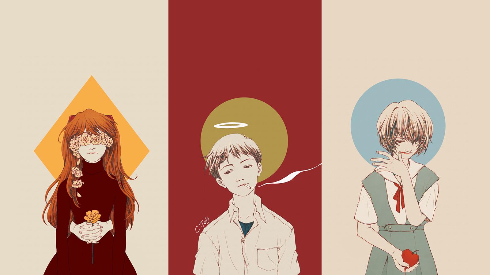 wallpaper : illustration, anime, neon genesis evangelion, asuka