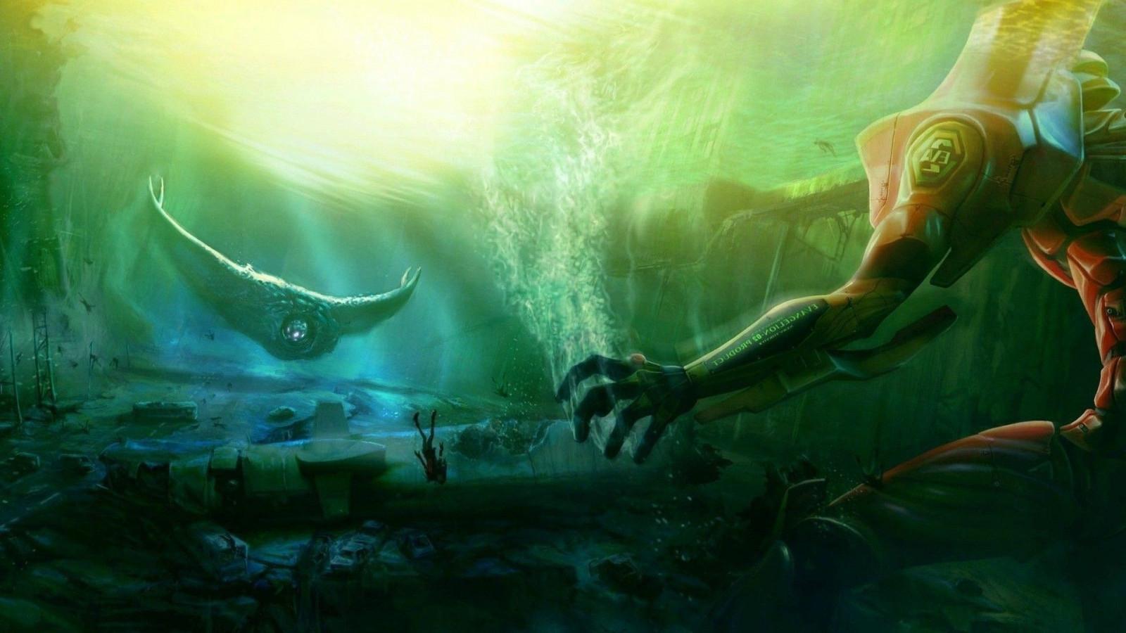 Wallpaper : anime, Neon Genesis Evangelion, underwater ...