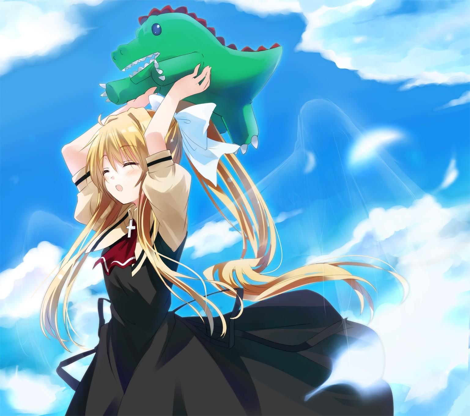 illustration blonde anime anime girls Air anime Kamio Misuzu screenshot computer wallpaper mangaka