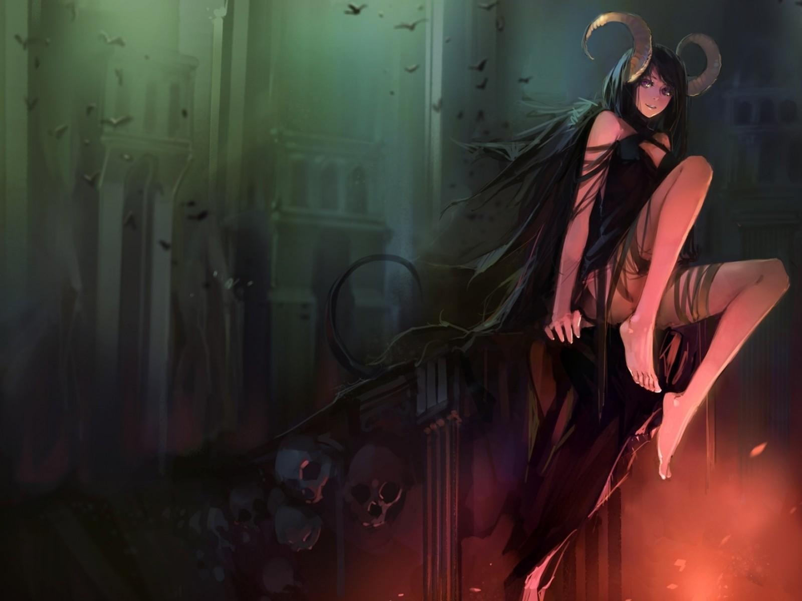 wallpaper : fantasy art, fantasy girl, anime girls, horns, skull