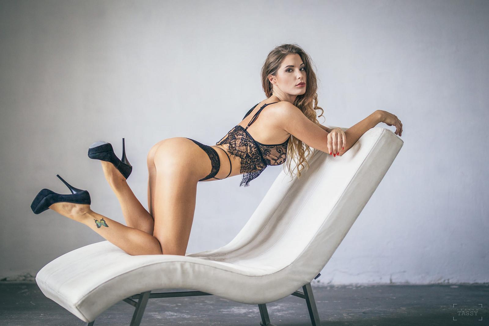Advise you nude brunette high heels bent over does