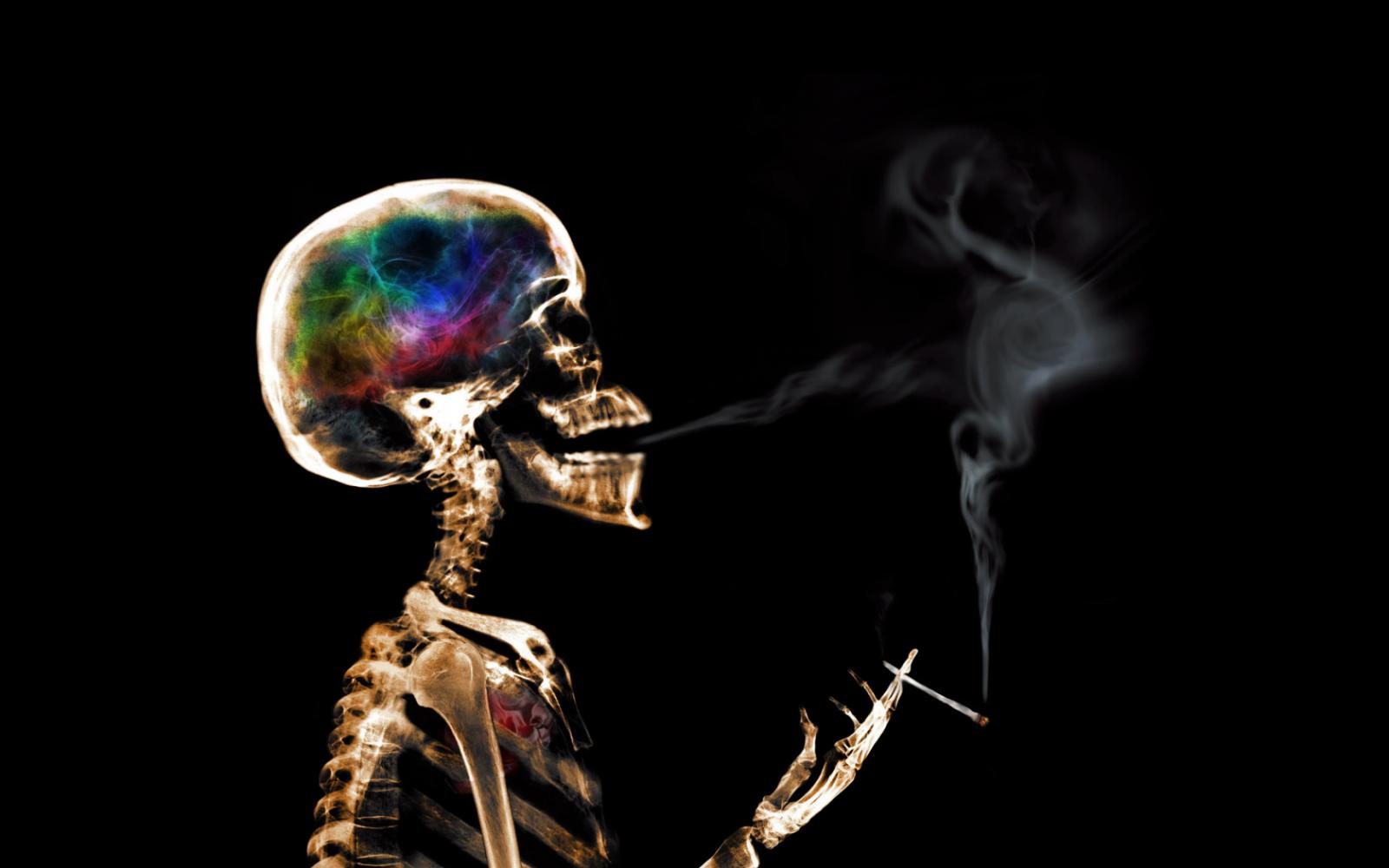 skeleton, smoking, skull, colorful, smoke, artwork
