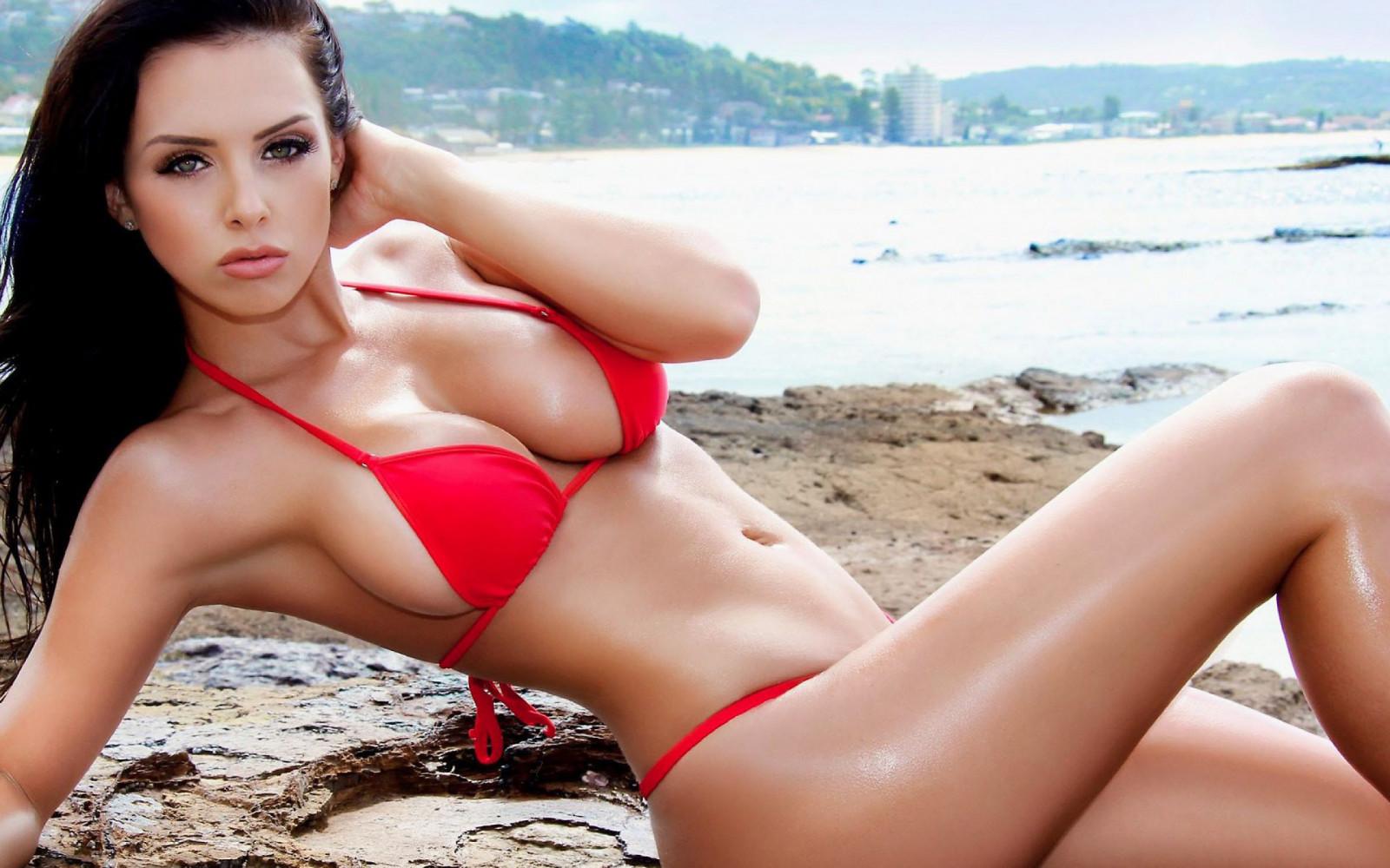 Sexy red bikini model #8