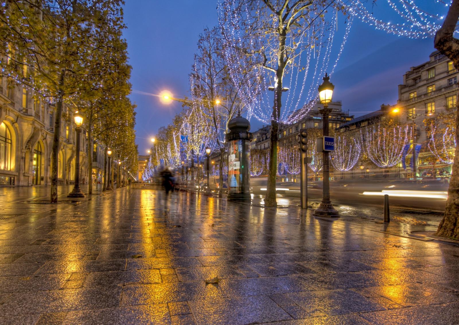 フランス, パリ, 道路, ライト, 通り, HDR